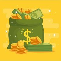money bag with coins and bills vector