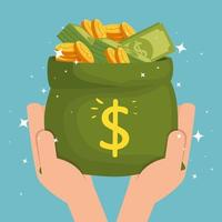 hands with money bag cash isolated icon vector