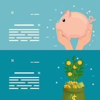 piggy bank with plant of coins vector