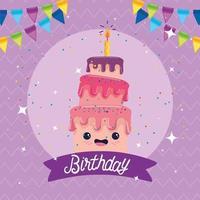 Happy Birthday cake cartoon vector design