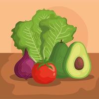 lechuga aguacate cebolla y tomate diseño vectorial vector