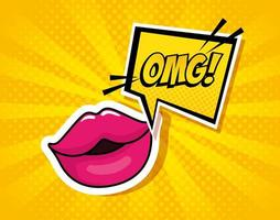 lips with expression omg in speech bubble pop art style vector