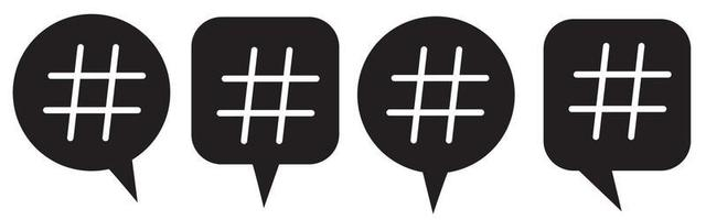 Hashtag icon in bubble. Hashtag symbol collection. Hash icons. vector