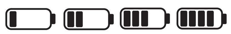 colección de iconos de batería. indicador de nivel de batería del teléfono inteligente. vector