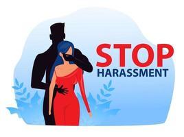 mujer con detener el acoso y el abuso sin violencia sexual vector