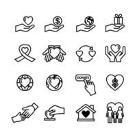 Charity and donation line icon set vector