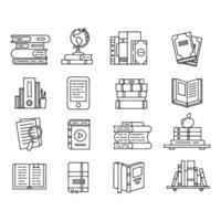 Line icon set related too book vector