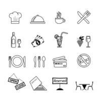 Food serving line icon set for restaurant vector