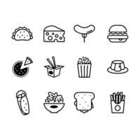 Fast food line icon set. Burger, hotdog and sandwich vector