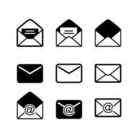 Black Mail, Message and Envelope Icon Set on White Background vector