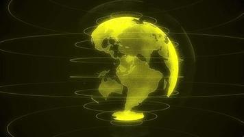 draaiende gele planeet aarde op een zwarte achtergrond video