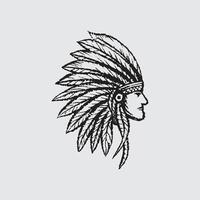 Indian chief head vector