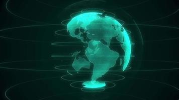 draaiende groene planeet aarde op een zwarte achtergrond video