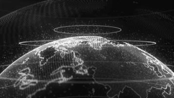 draaiende planeet aarde op een zwarte achtergrond video