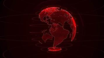 draaiende rode planeet aarde op een zwarte achtergrond video