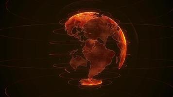 draaiende oranje planeet aarde op een zwarte achtergrond video