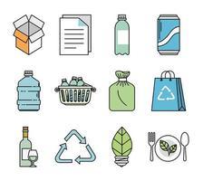 bundle of ecology set icons vector