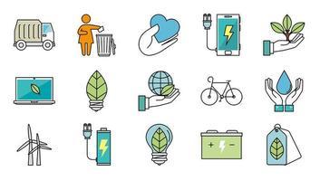 paquete de iconos de ecología vector