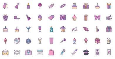 Happy birthday icon set vector design