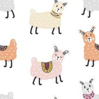 Seamless vector pattern of multicolor pastel colored lamas