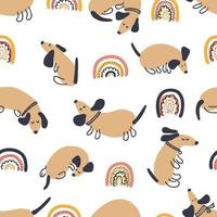 Hand drawn vector seamless pattern of dachshunds and rainbows