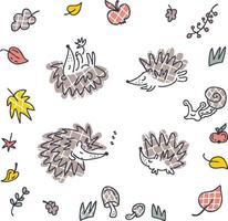 Autumn vector collection of checkered hedgehogs