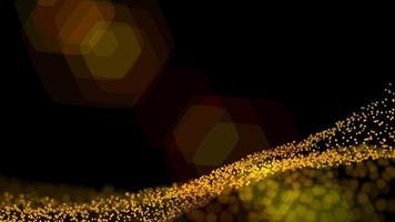 fundo futurístico de pontos dourados com uma onda dinâmica video