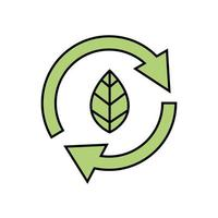 arrows in circle with leaf ecology icon vector