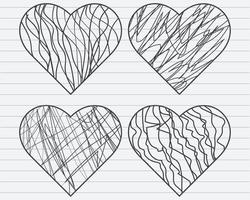Hand draw Scribble Hearts Set Free Vector