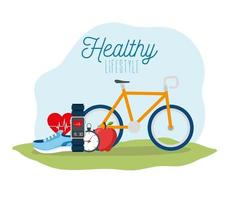 poster healthy lifestyle with bike and icons vector