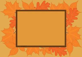 Autumn fall backgrond with wooden frame and yellow red leaves vector