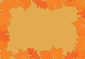 Autumn fall backgrond frame with yellow red leaves vector illustration