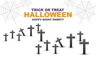 Happy Halloween night party black cross grey spider web on white vector