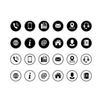 Set of contact icons in circles vector