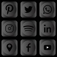 Set of dark social media icons monochrome logo vector