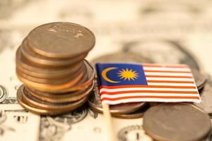 Malaysia Flag on coins background, Business and finance concept. photo