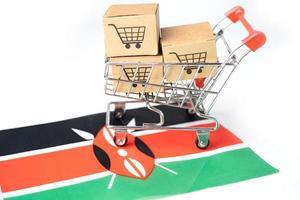 Box with shopping cart logo and Kenya flag photo