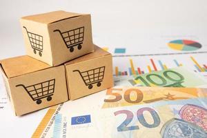 Shopping cart logo on box with Euro banknotes background, photo