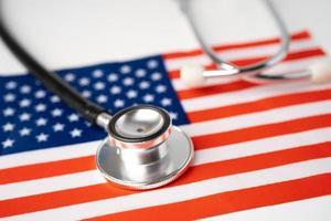 Black stethoscope on USA America flag photo