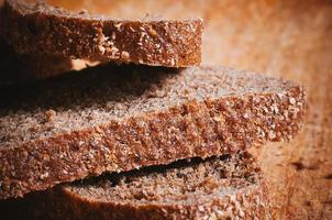 Macro view of sliced brown bread photo