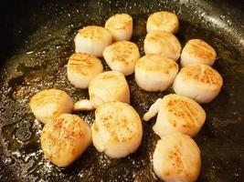 Scallops with red linguine pasta herbs and spices photo