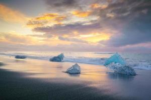 Ice beach in jokulsarlon, Iceland. photo