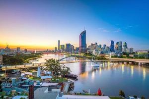 Brisbane city skyline and Brisbane river at twilight photo