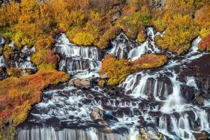 Hraunfossar waterfall in Iceland. Autumn photo