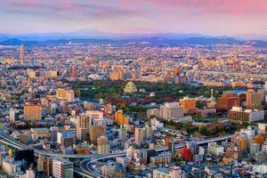 Nagoya city skyline with Nagoya Castle in Japan photo