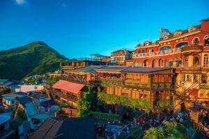 Many tourist in restaurant at old street in Jiufen Taiwan photo