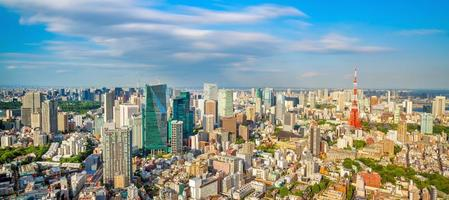 Panorama view of Tokyo city skyline and Tokyo Tower building in Japan photo