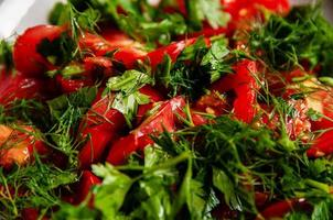 Parsley tomato and dill salad on a white plate photo