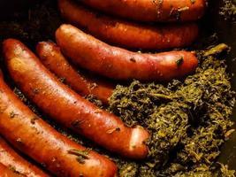 Kale with sausage photo