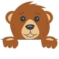 Brown smiling bear head with paws vector